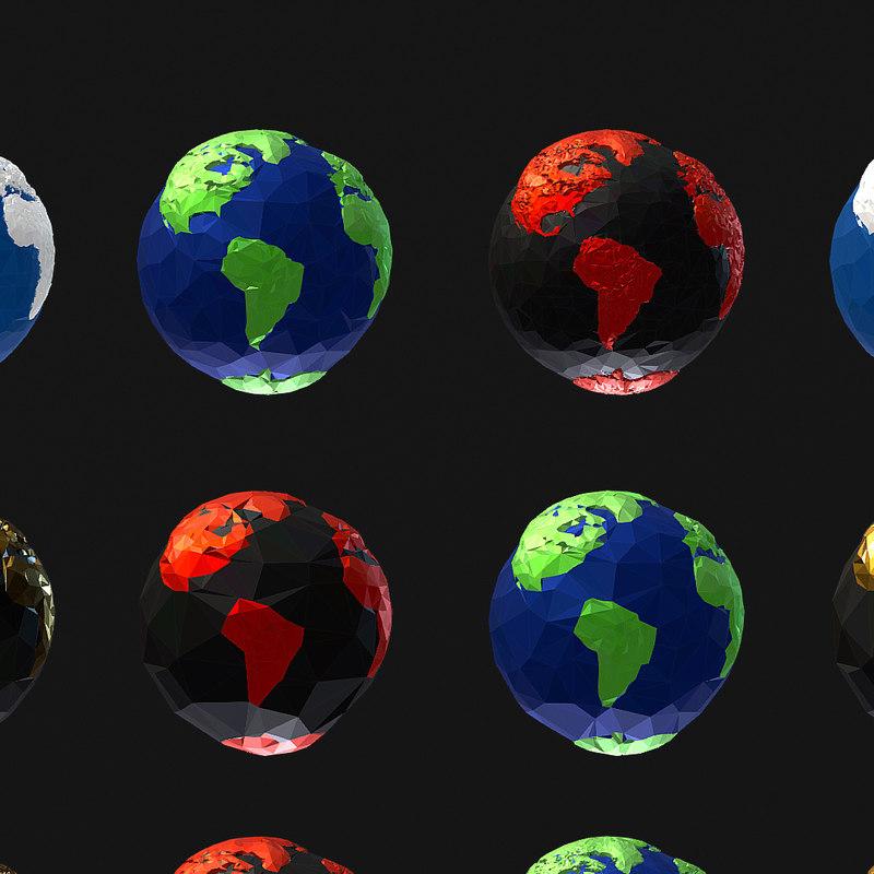 3D model 16 art planets earths