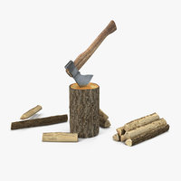 hatchet split wood 3D model