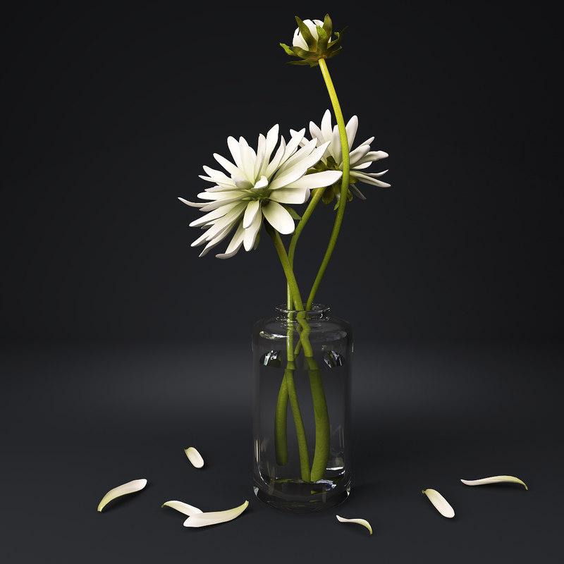 White Flower In Glass Jar