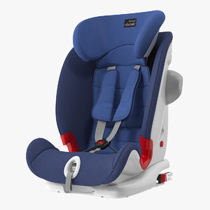 3D child safety seat blue model