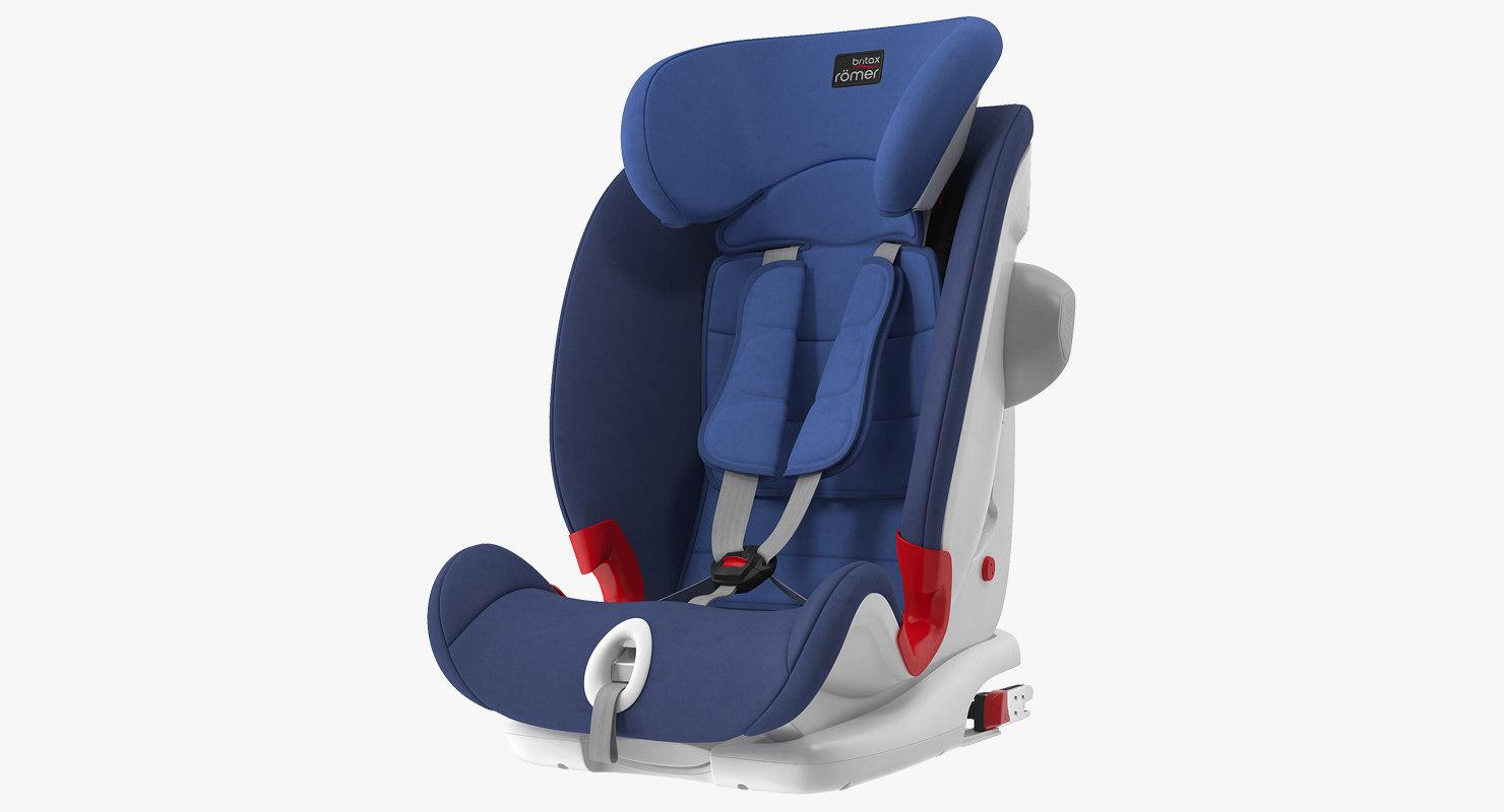 3D child safety seat blue model