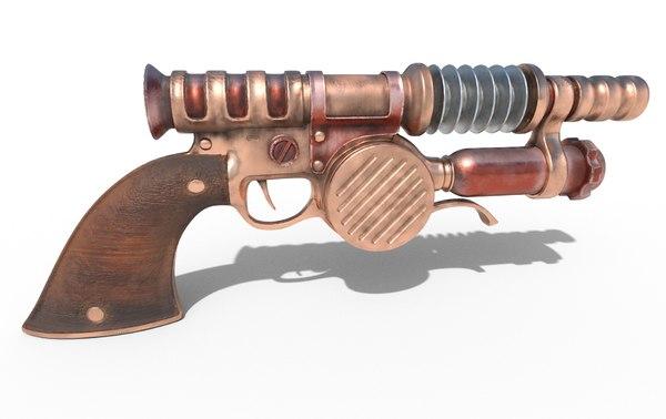 3D retro gun steampunk model