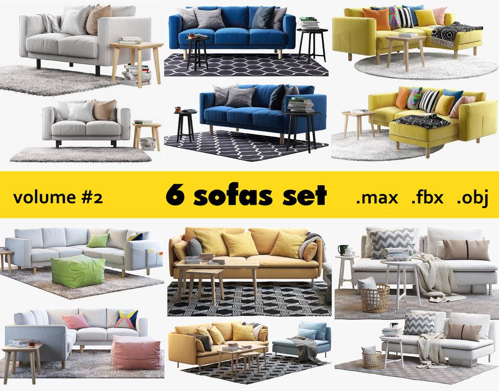 Ikea 6 Sofas Set 3d Model Turbosquid, Model Of Living Room Sets Ikea