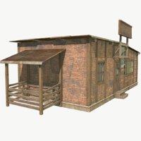 brick hut pbr 3D model