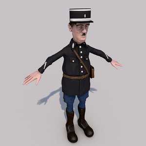 toon character gendarme model