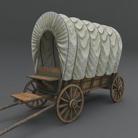 wooden covered cart modeled 3D model