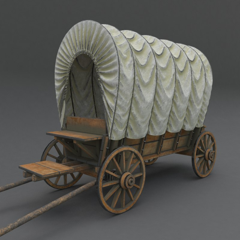 wooden covered cart modeled 3D model