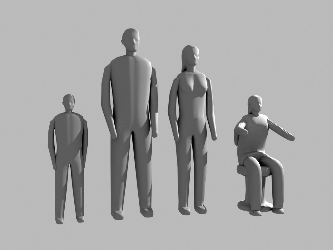 small detalied people print 3D model