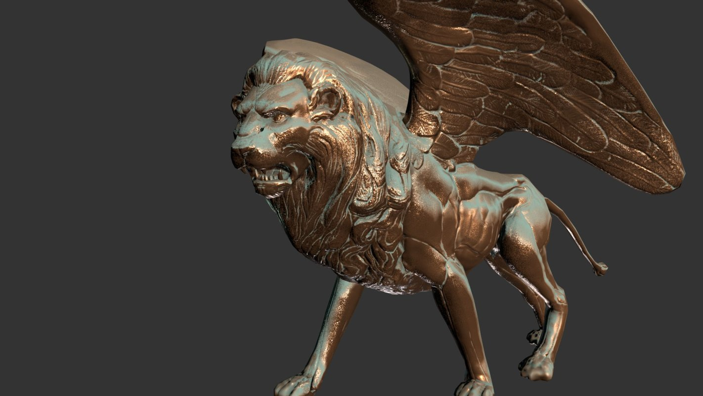 bronze statue winged lion model