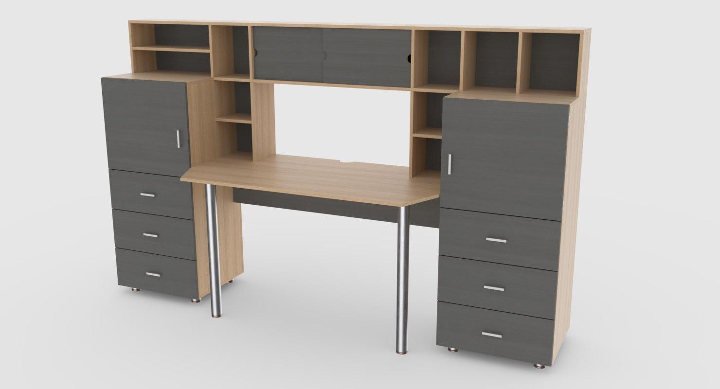 computer desk wall 3 3D model