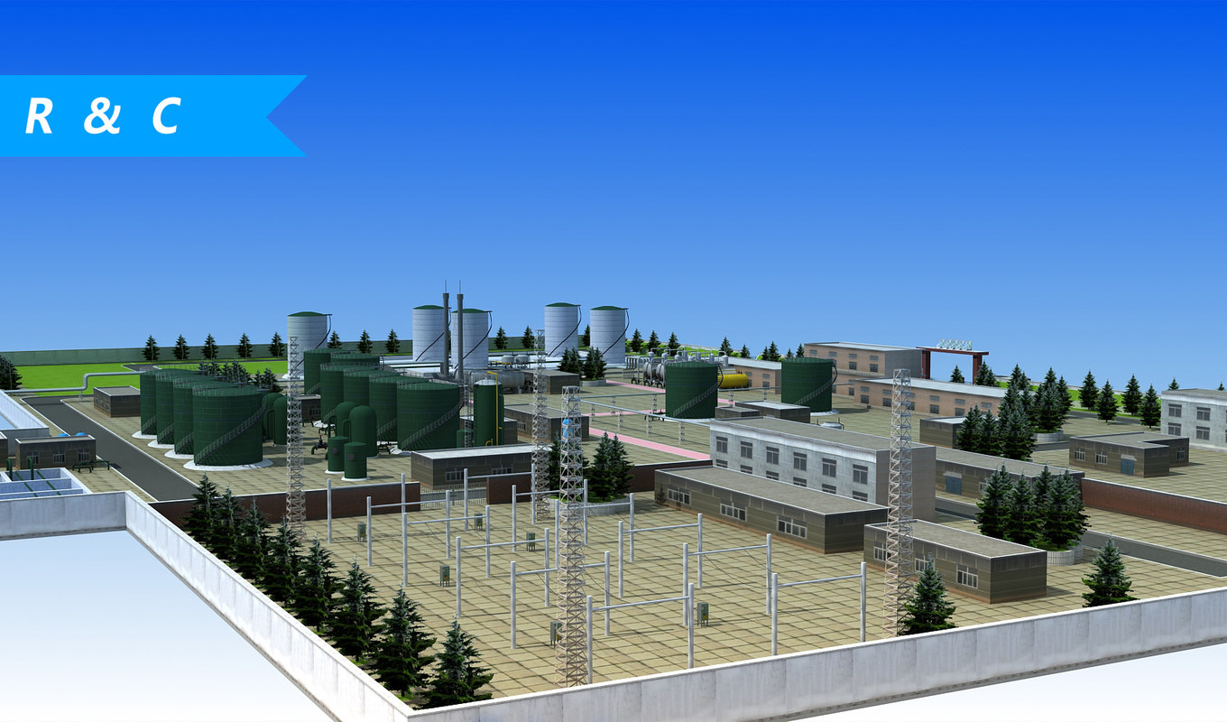 3D wastewater treatment plant model
