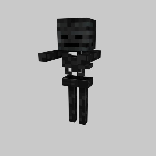 3D minecraft wither skeleton