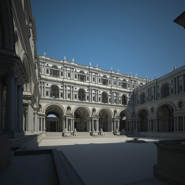 classical courtyard 3D model