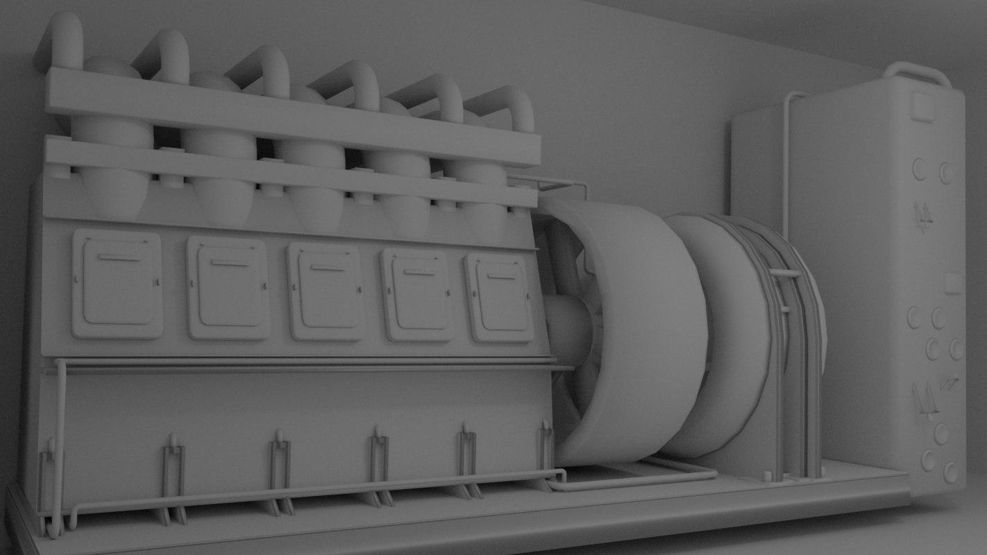 3D eletric generator industrial model