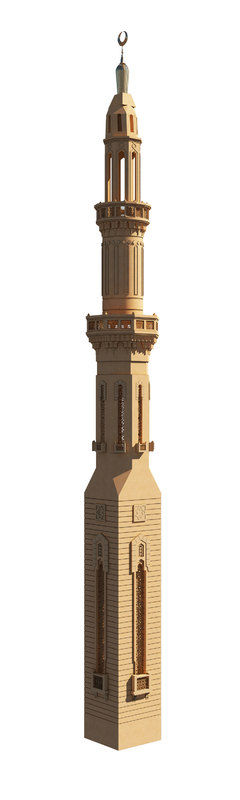 3D model islamic mamluk minaret architectural