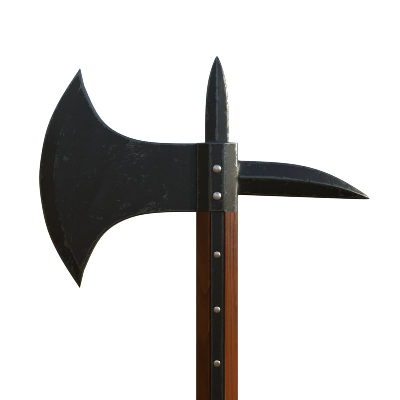 medieval knights axe 3D model