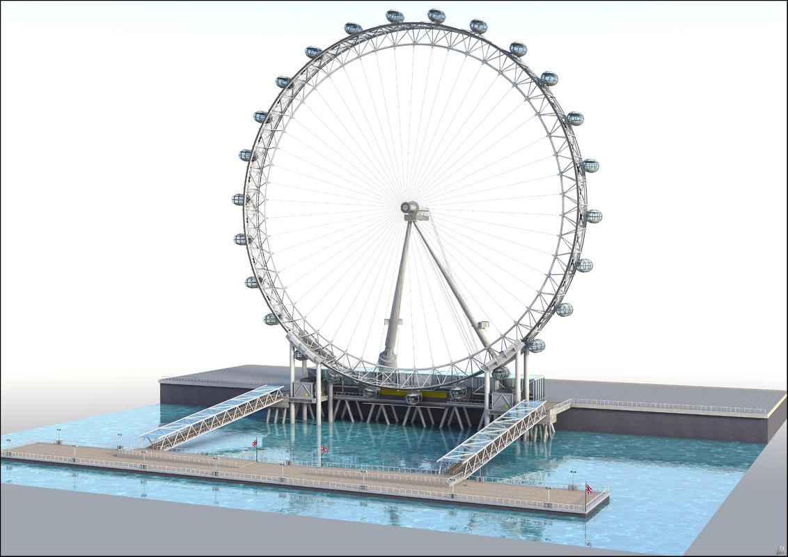 3D london eye ferris wheel model