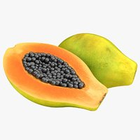 realistic papaya color 2 3D model