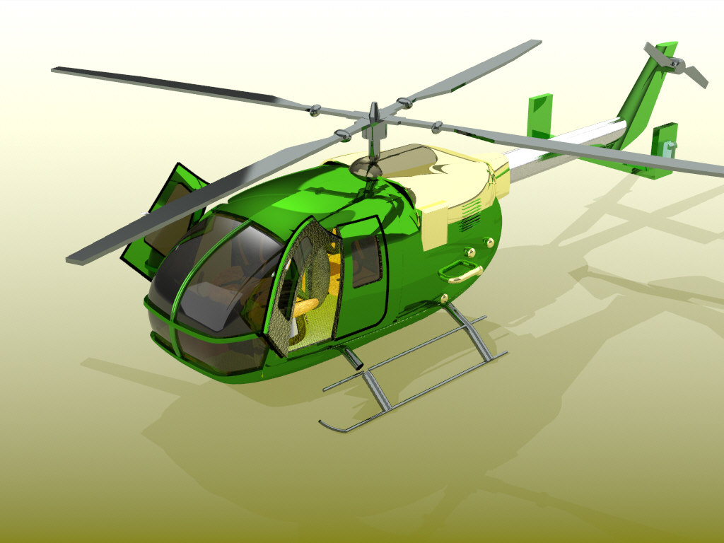 bolkov 105 mbb helicopter 3D model