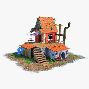 stylized house 3D model