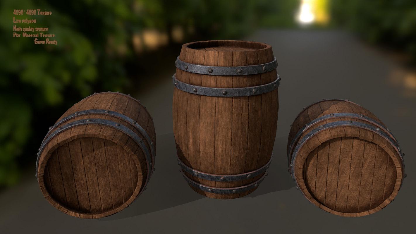 wood barrel model