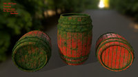 3D wood barrel