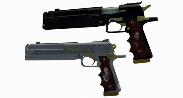 dantes guns ebony ivory 3D model