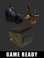 dumpster cardboard box ready 3D model