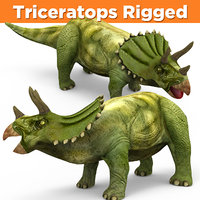 3D triceratops rigged model