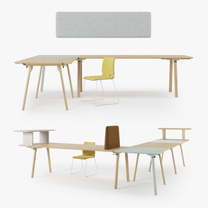 rail zeitraum wood chair 3D model