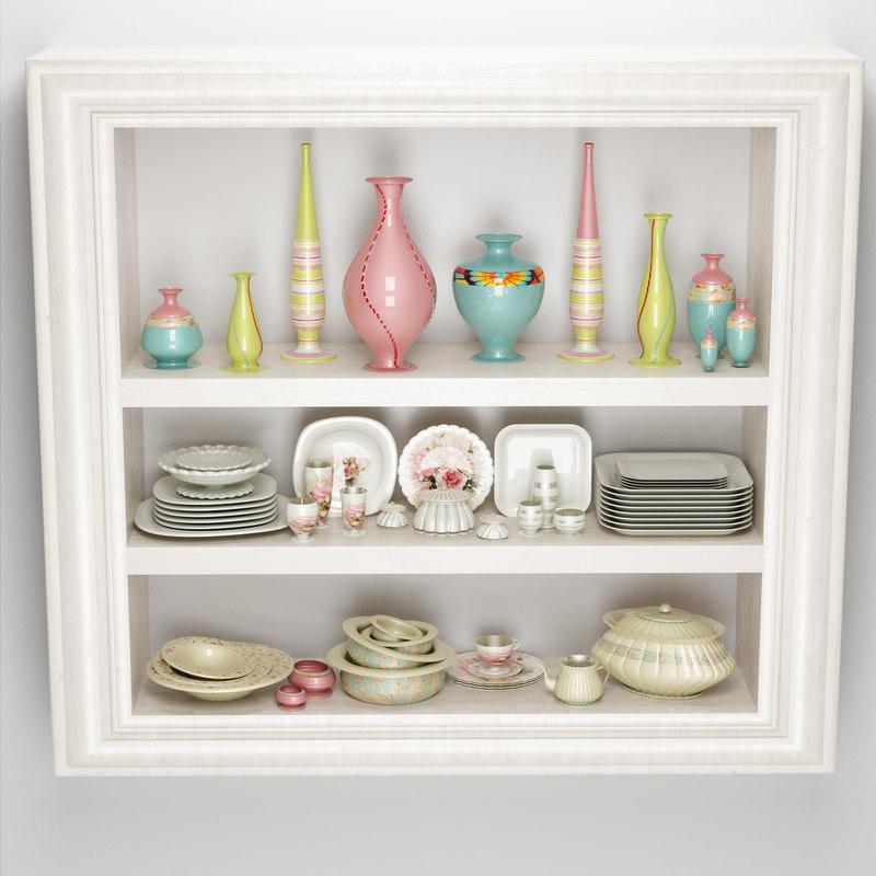 dish cupboard tableware 3D
