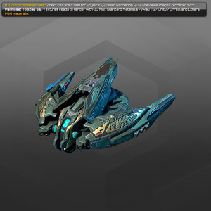 gunship starship spacecraft 3D model