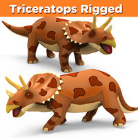 3D cartoon triceratops rigged model