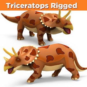3D cartoon triceratops rigged model