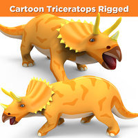 cartoon triceratops rigged 3D model