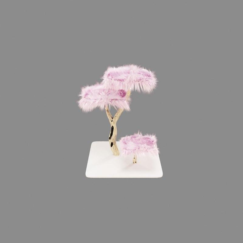 3D fluffy tree cat model