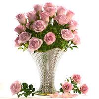 3D model bouquet flowers roses glass vase