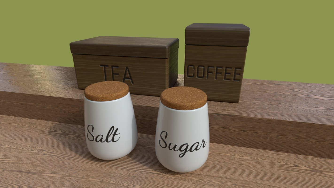 3D model kitchen containers coffee tea