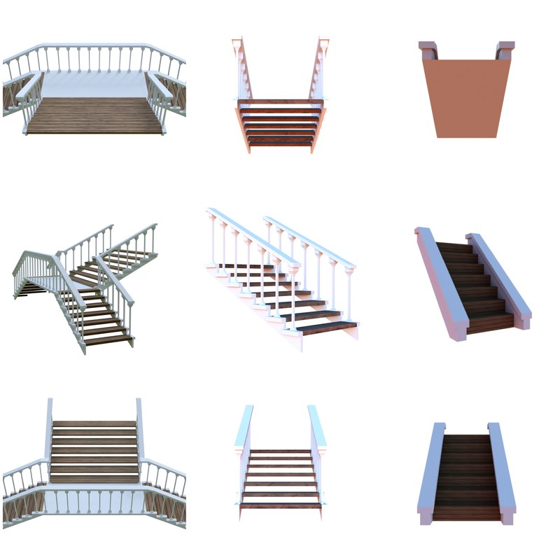 3D model wooden stairs package