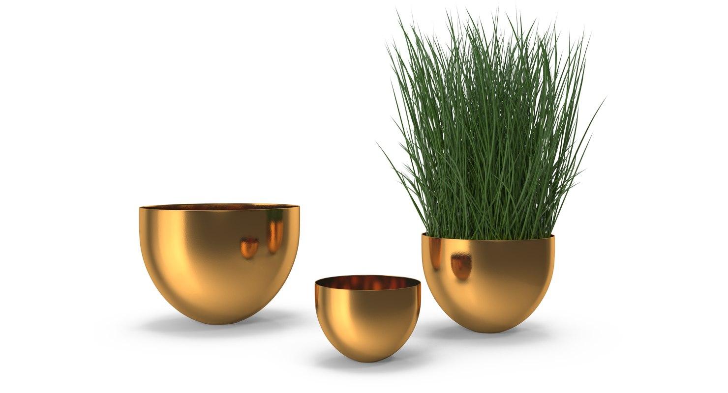 3D brass bowl model