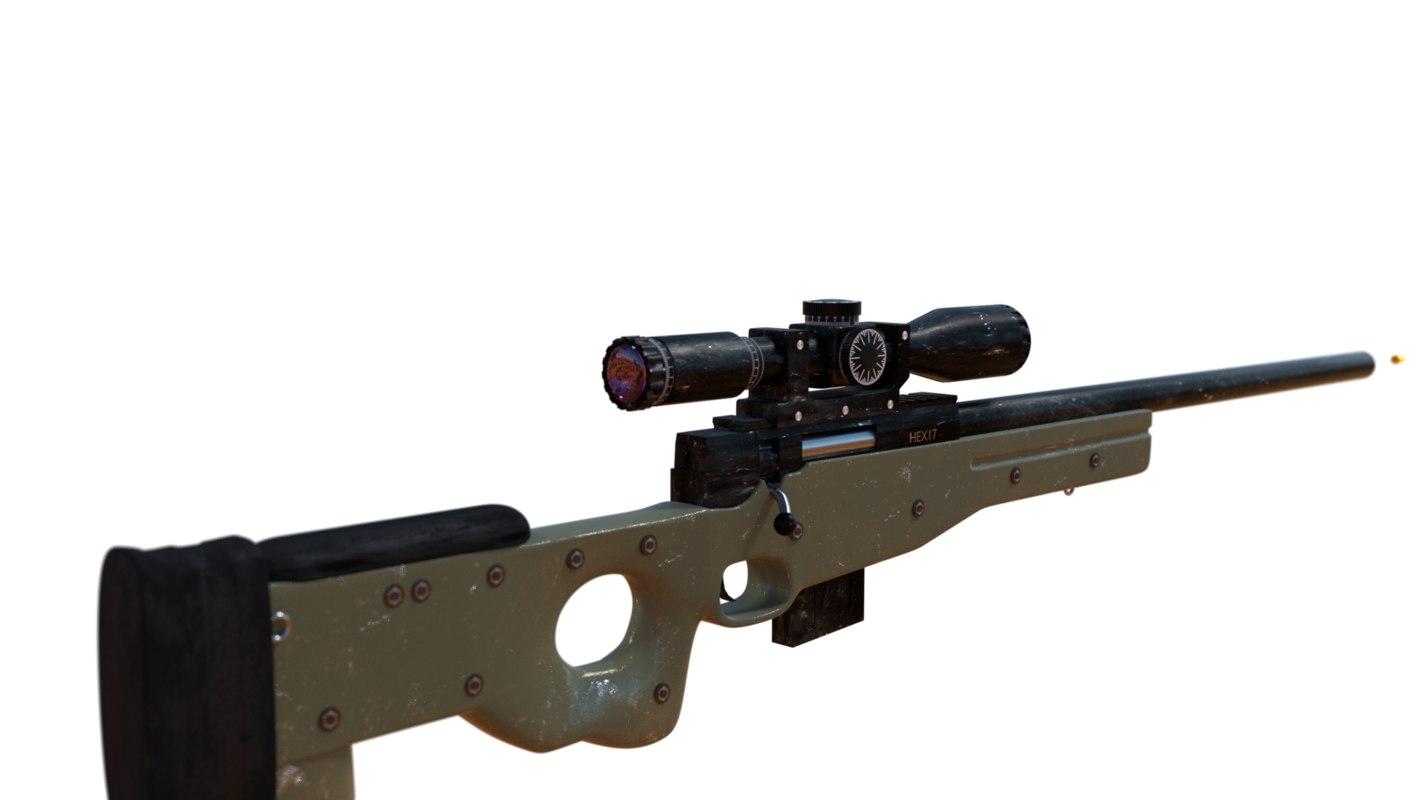 l118a1 sniper rifle 3D model