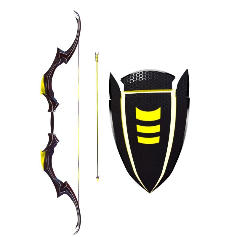 3D bow arrow shield