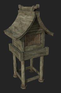 3D model wooden forest shrine