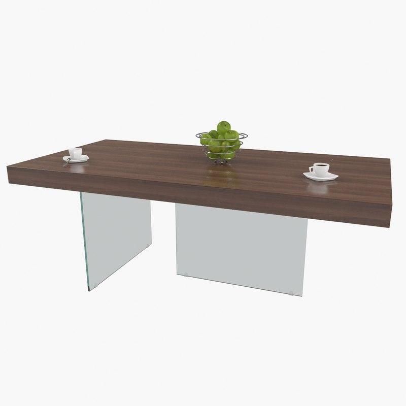 3D espresso dark wood glass model