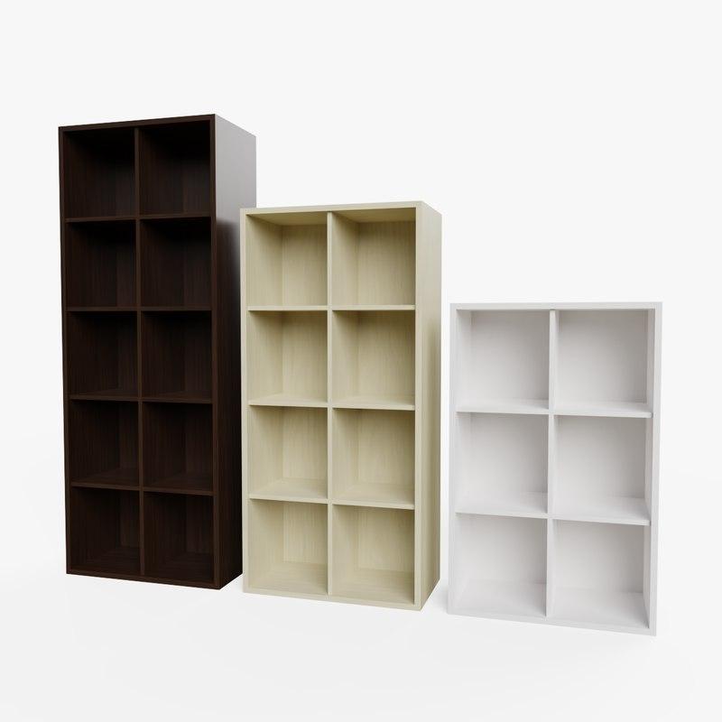 set bookcases ready pbr 3D model