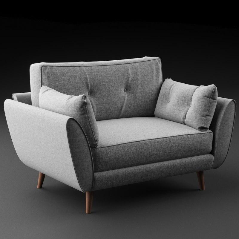 zinc cuddler sofa 3D