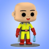 Mini Saitama One Punch Man Big Head 3D model