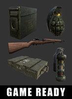 military m1 garand rifle 3D