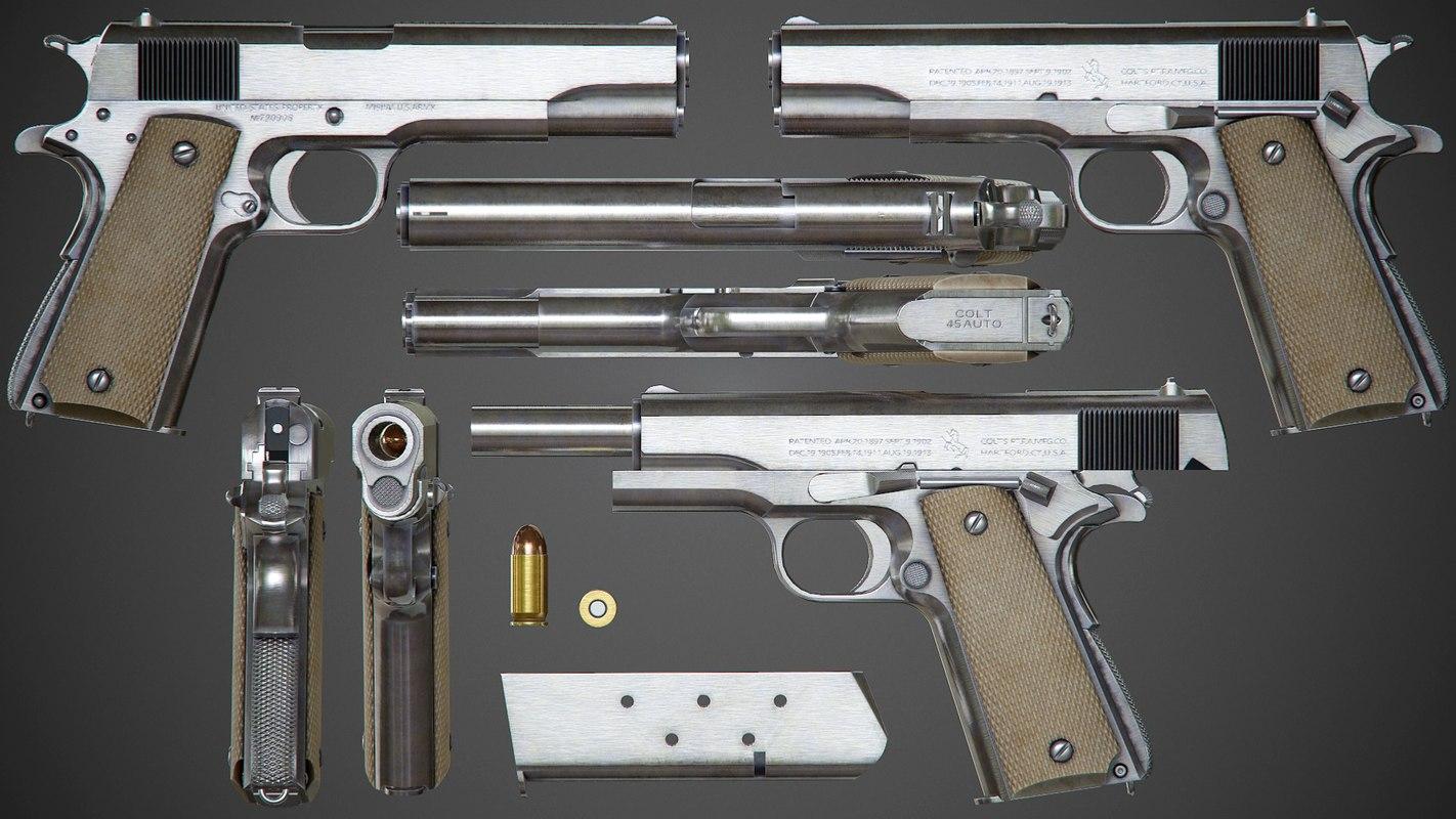 Colt M1911 A1 Chrome - PBR Game-Ready