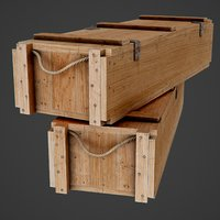 3D wooden ammo box pbr model